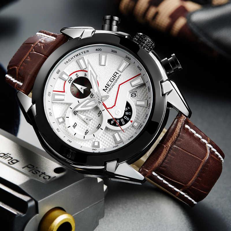 Reloj creativo de cuarzo para Hombre Reloj de cuero MEGIR cronógrafo ejército impermeable militar relojes deportivos Reloj para Hombre hora Reloj Hombre