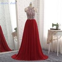 Сапфировое свадебное торжественное вечернее платье трапециевидной формы с глубоким вырезом, украшенное бисером, блестящее длинное вечерн