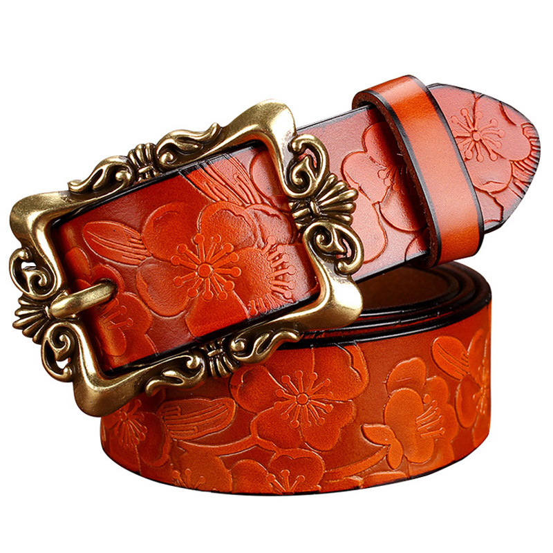 2016 New Fashion Wide Genuine leather belt woman vintage Floral Cow skin belts women Top quality
