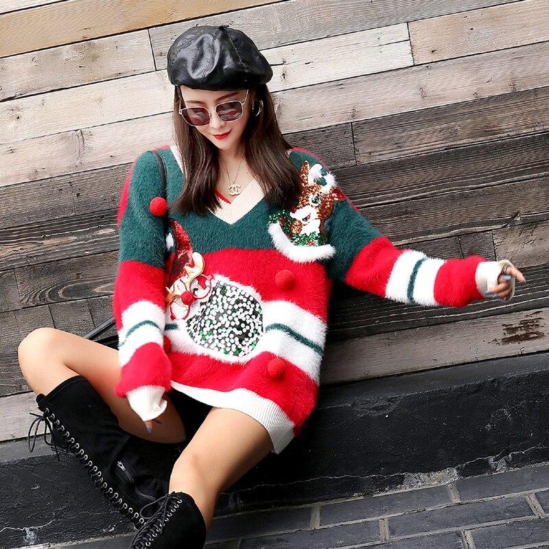 Nuevo Casual En Pesado Cuello rojo Color Mujer Navidad Azul Otoño Juego A Peludo Señoras Invierno Trabajo V Suéter Largo E Suelto Perezoso PwpxqEZ