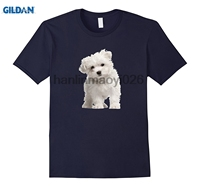 GILDAN Maltese Puppy Dog On A Tee Shirt