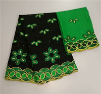 New arrival black with green African embroidery cotton lace fabric matching 2y Swiss voile scarf cloth YCV23(5+2y)
