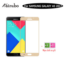 5PCS 9H Full Screen Tempered Glass For Samsung A5 2017 Duos Protector Film Kairubo brand Nano Coating Protective