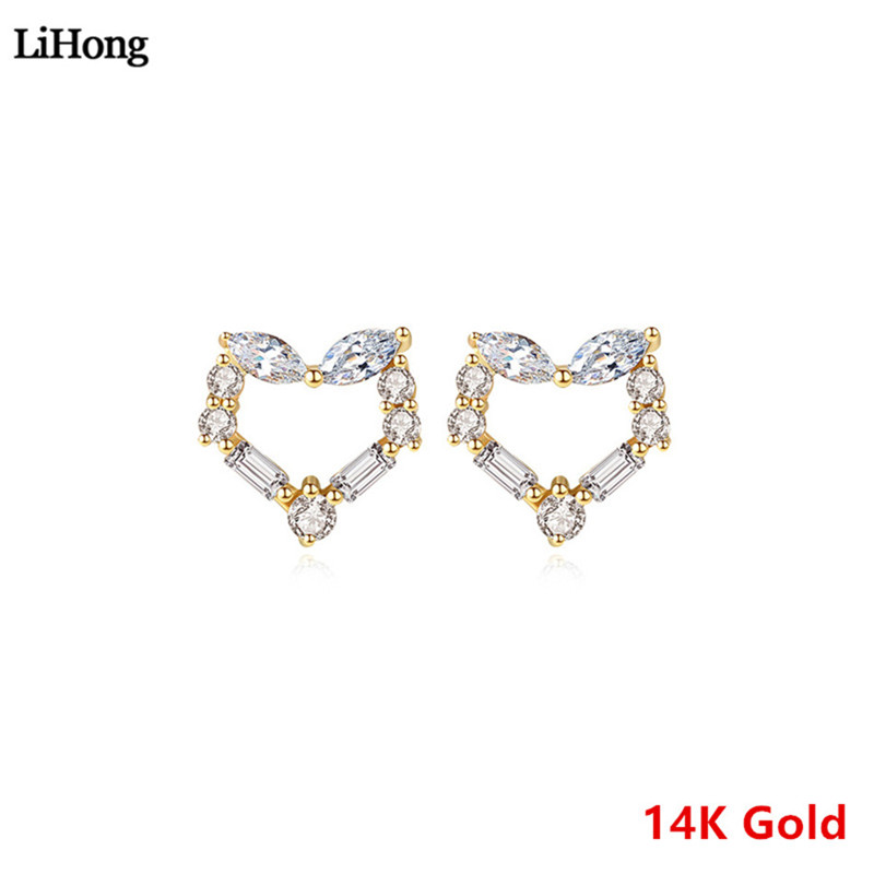 Genuine 14K Gold Stud Earrings Heart Crystal Zircon Earrings High Jewelry Gift for Women Size 7*7mmGenuine 14K Gold Stud Earrings Heart Crystal Zircon Earrings High Jewelry Gift for Women Size 7*7mm