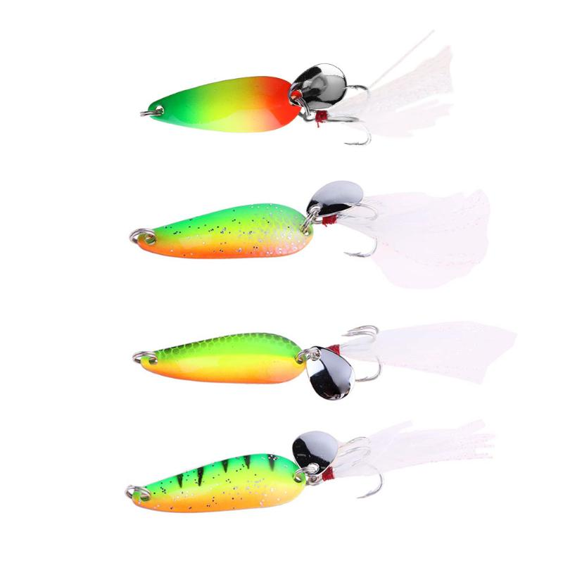 1PC Fishing Spoon Lures artificial spoon hard bait spinner bait multicolor fishing trout lure bass lure With Feather 4pcs 19 8g spinner bait fishing bait spoon lure for winter hard fishing baits metal fishing lures artificial lures fish tackle