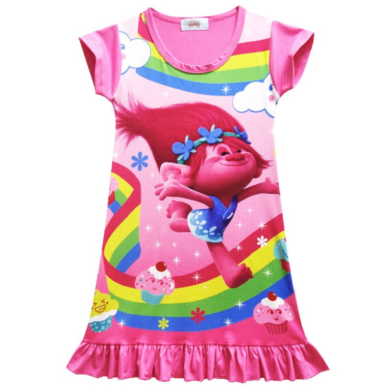 2017 Summer popular dress Trolls Up Girls kids Princess Tunic Dress Clothing For Wedding Party Brithday 2-10 Years