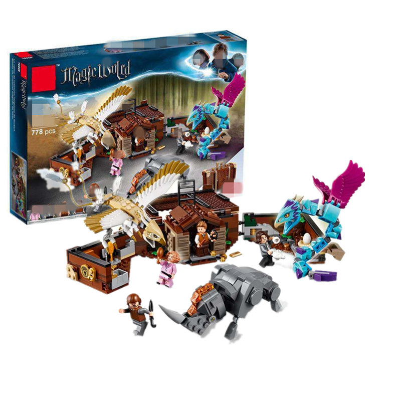 In stock Harry Movie Potter Legoing Newt`s Case of Magical Creatrues Set model Building Blocks Kids Toys Christmas Dorpshipping