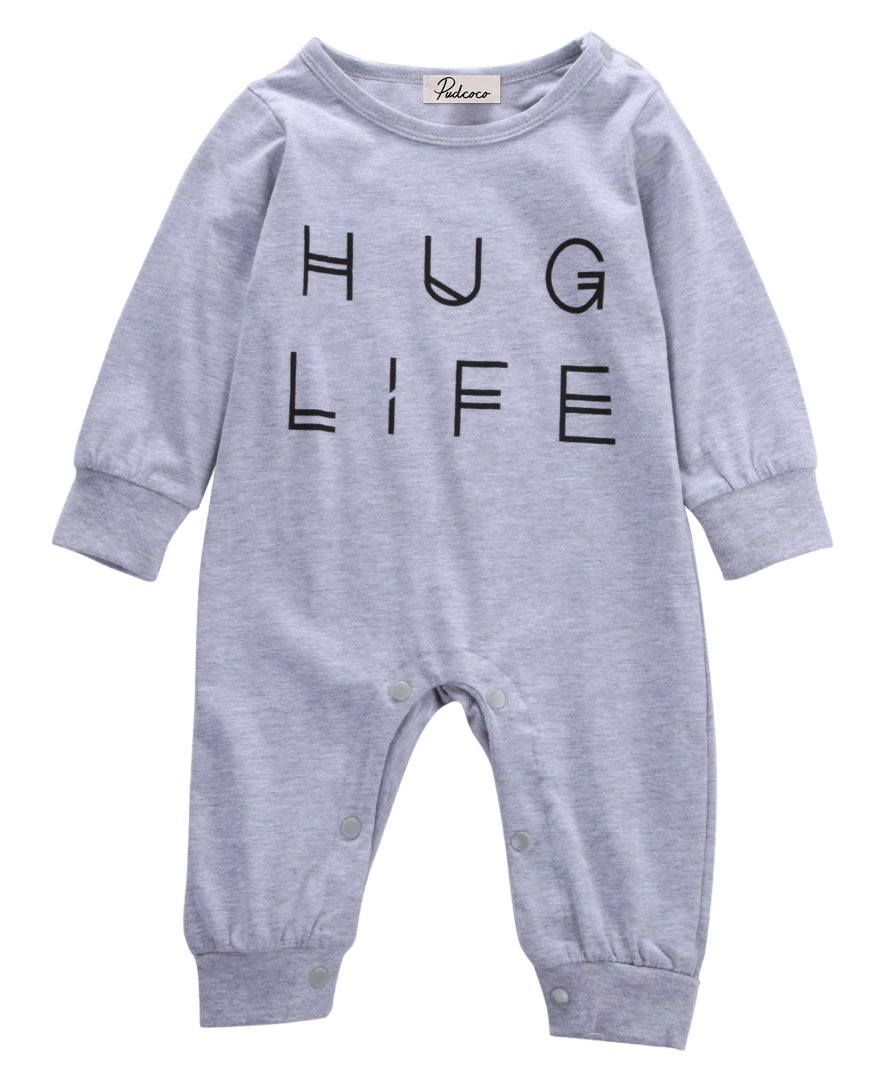 Newborn Baby Boys Girls Long Sleeve Letters Rompers Infant Cotton Jumpsuit Playsuit Clothes Baby Winter Outfit Clothing baby clothes newborn boys and girls jumpsuits long sleeve 100%cotton solid turn down baby rompers infant baby clothing product