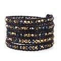 Kelitch Jewelry Latest Fashion Leather Chain Wrap AB Crystal Beaded Handmade Bracelet For Women Men AZ5WS-00092