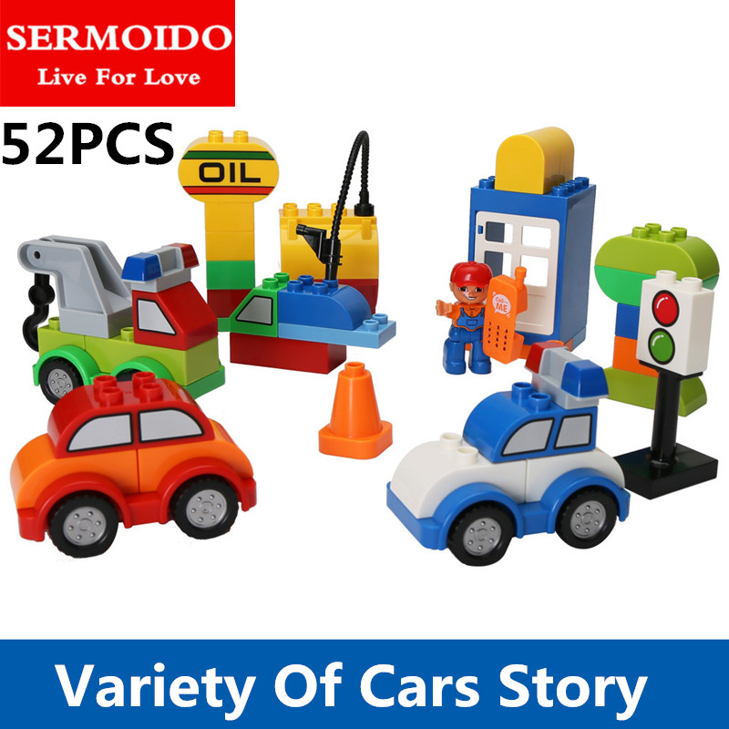 SERMOIDO 52pcs My First Creative Cars Variety of Car Story Big Size Building Blocks Bricks Baby Toy Compatible With Duplo B301 my first animals