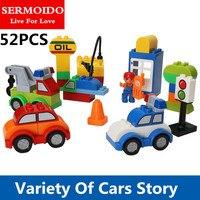 Sermoido 52 шт. мой первый Творческий автомобили различных автомобилей история большой Размеры здания Конструкторы кирпича детские игрушки Сов...
