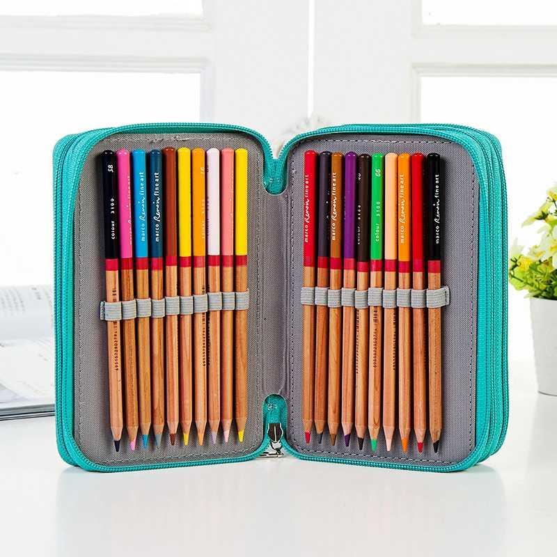 72 слота 4 слоя 6 цветов большой емкости PU кожаный чехол для карандашей с ремешком на руку фломастеры сумка для художественных студенческих художественных принадлежностей