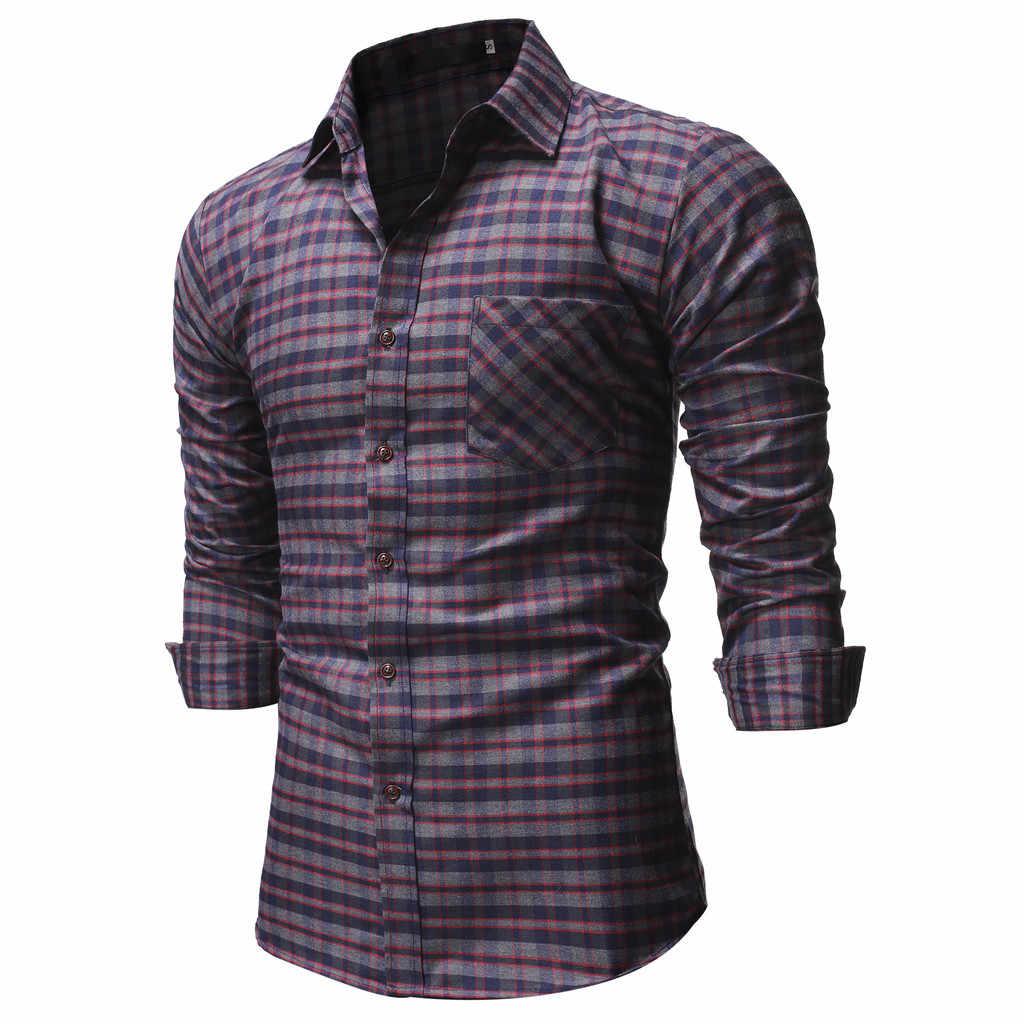 Мужская повседневная нормальная клетчатая Деловая блузка с длинными рукавами и пуговицами