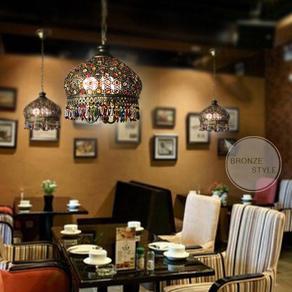 mediterranean lighting. American Vintage Wrought Iron Crystal Lamp Lighting Holder Pendant Bedroom Light Aisle Mediterranean Lights 110V 220V -in From E