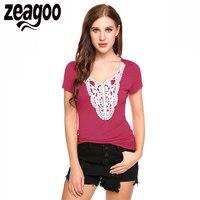 Zeagoo Sexy Women T Shirt V Neck Short Sleeve Lace Patchwork Slim Fit T Shirt Summer