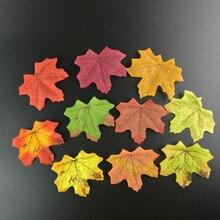 купить 50PCs Fall Silk Artifical Maple Leaves Fake Fall Leaf Art Home Bedroom Wall Book Decor Wedding Party Decoration Craft Flowers по цене 78.54 рублей