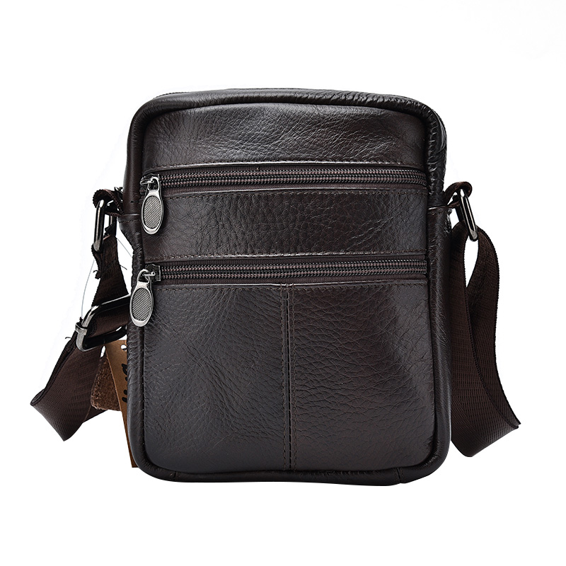 The First Layer of Cow Leather Men's Business Messenger Bags Zipper Design Solid Black Genuine Leather Shoulder Bag For Men bag female new genuine leather handbags first layer of leather shoulder bag korean zipper small square bag mobile messenger bags