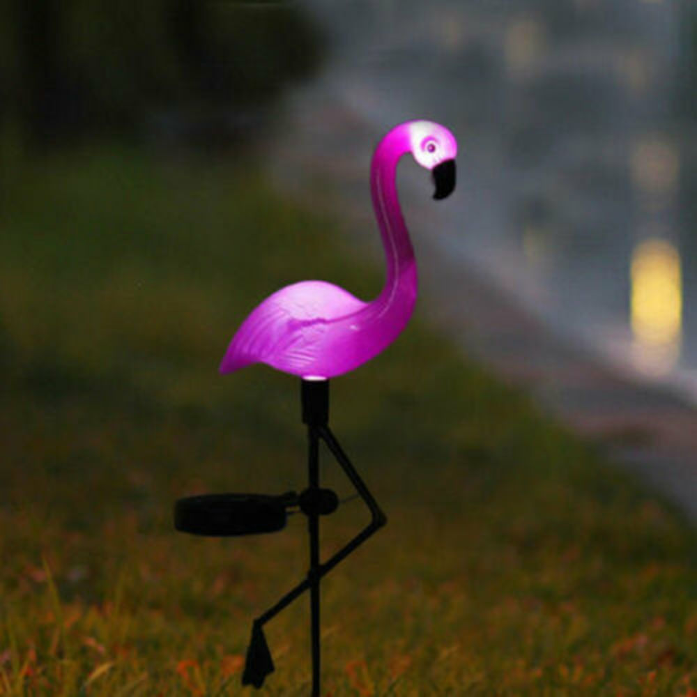 Solar Power Pink Flamingo Lawn Light Decoration Garden Stake Landscape Lamp Outdoor Night Lights New Party Deco Animal Lights