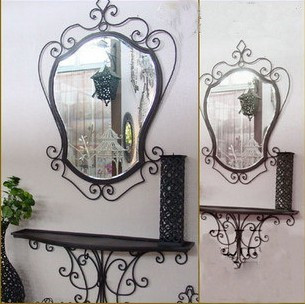 Free Shipping Fashion Wrought Iron Mirror Bathroom For Makeup Wall Mounted Mirror Frame Home