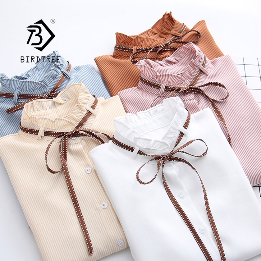 2019 Woman Striped Shirt Single Breasted Ruffles Turn Down Collar Long Sleeve Cotton Blouse Lace Up Bow Feminina Sales T8D408Z