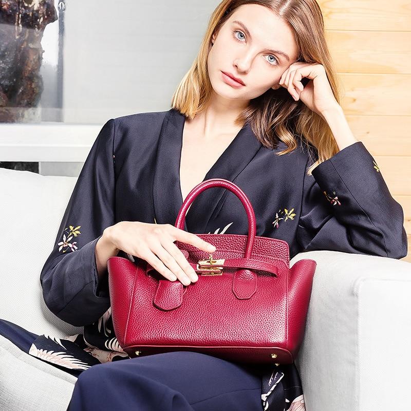 Noir Rouge bourgogne Femme Et Sac À Pour Cuirs Fourre Brown Sacs 2019 En Dames noir Bandoulière Femmes Véritable tout Main HqZtw