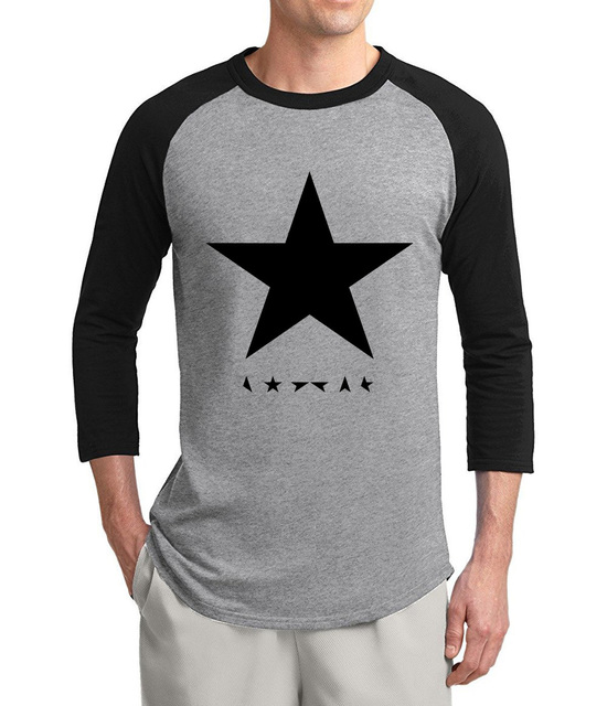 cc56f0e510e1 fashion David Bowie heroes black star posters 2019 summer hot sale 3/4  sleeve t shirts 100% cotton raglan men t-shirt for fans