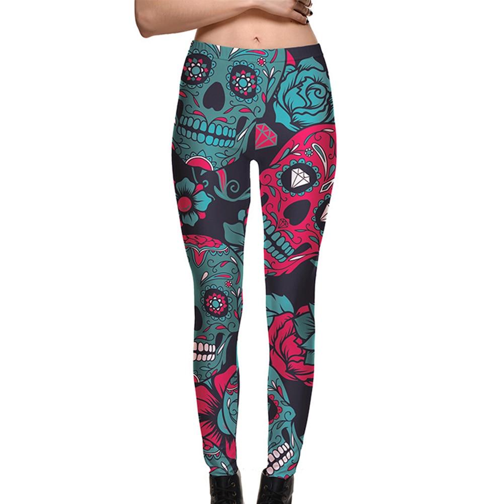 Halloween Petrol blue crystal skull roses print yoga pants skinny Plus size compression tight Leggings