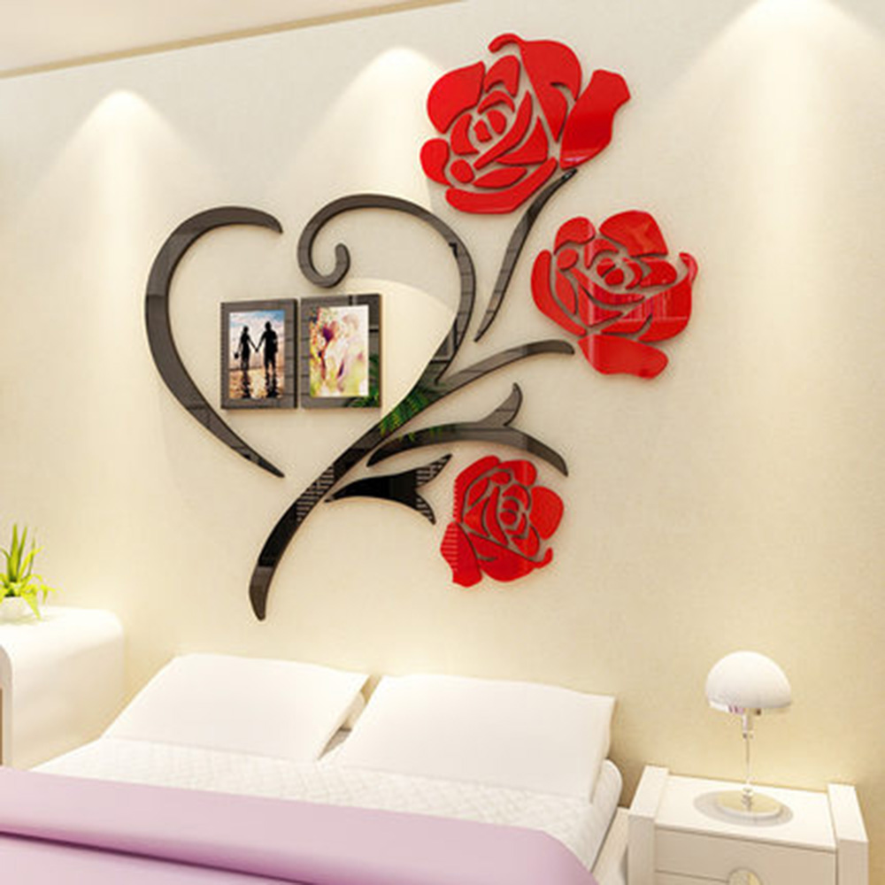 Picture-Frame Wall-Stickers Acrylic Home-Decoration Small Stereo 50cm--50cm Rose