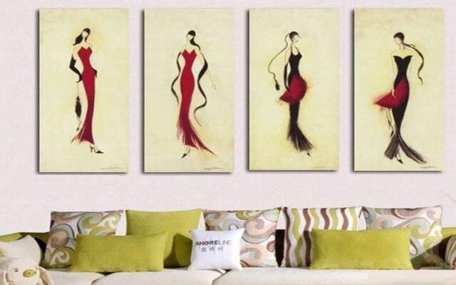 Peint à la main toile peintures à l\'huile moderne femme en rouge à l ...