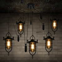 Bar pulley Lifting light Luminaria American Rural Retro Adjust cord E27 Edison Pendant Lighting Vintage glass shade hanging lamp
