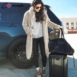 Conmoto Women Winter Suede Jacket 2019 Fashion Teddy Bear Caramel Long Coat Female Long Sleeve Faux Fur Coat Fluffy Outerwear 3