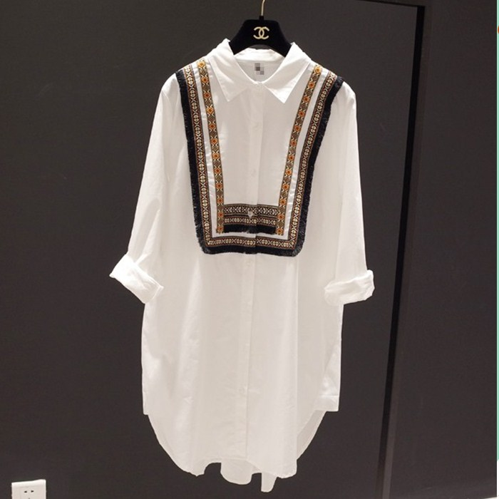 spring Casusl   shirt   Plus Size 2019 Autumn National Wind Women   Shirts   Loose Full Sleeve Long Cotton White Black   Blouse     Shirt   23E3