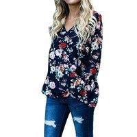 Newest Blusas Femininas 2018 Autumn Women Vintage Floral Print Tops Sexy V Neck Flare Sleeve Blouses