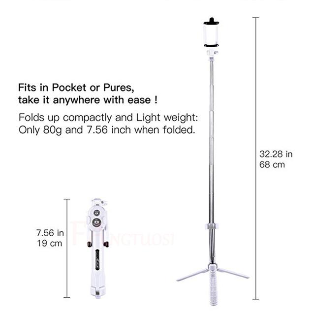 Wireless Bluetooth Selfie Stick Universal Extendable Handheld Monopod Pau Palo For iPhone 7 8 X 6s Plus For Samsung Mini Tripod