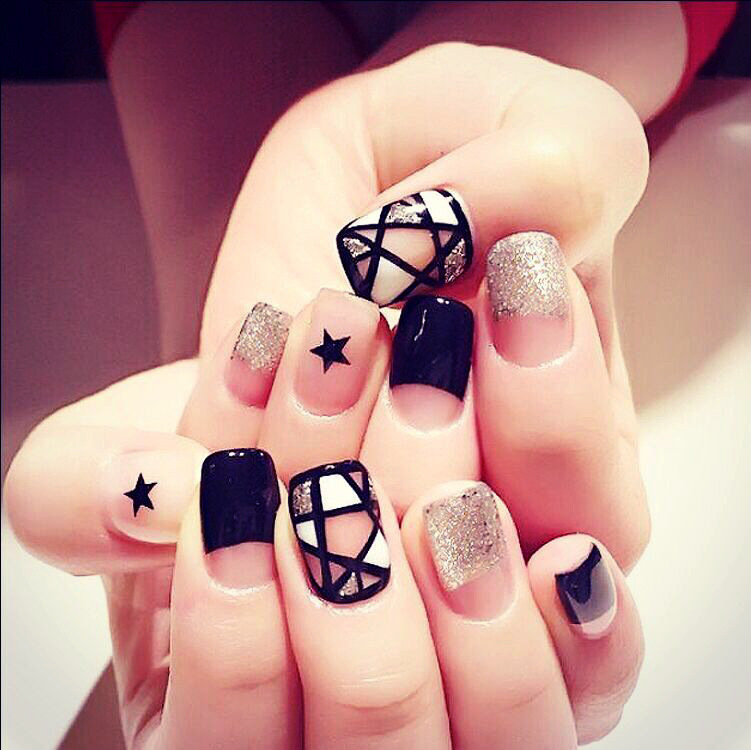 24 pcs/lot False Fingernails New Faux Ongles Printed Acrylic Nail ...