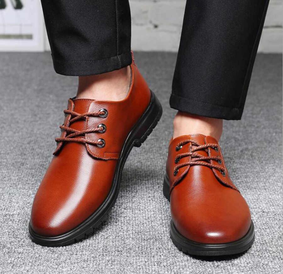 Leer Herfst Nieuwe Mannen Casual Enkele Schoenen Verhoogd Business Casual Lederen Schoenen Vier Seizoenen Mode Enkele Schoenen