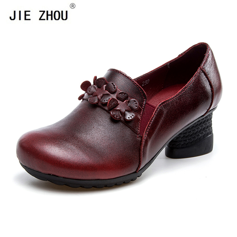 Retro Ethnic Style Genuine Leather Square Heels Women Pumps Shoes Woman Round head Comfortable Dancing High