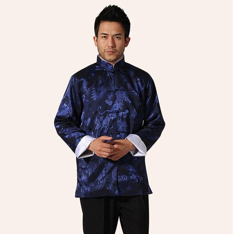 Jackets Jackets & Coats Navy Blue Traditional Chinese Men Silk Satin Jacket Novelty Kung Fu Coat Handmade Button Dragon Overcoat M L Xl Xxl Xxxl Mn28