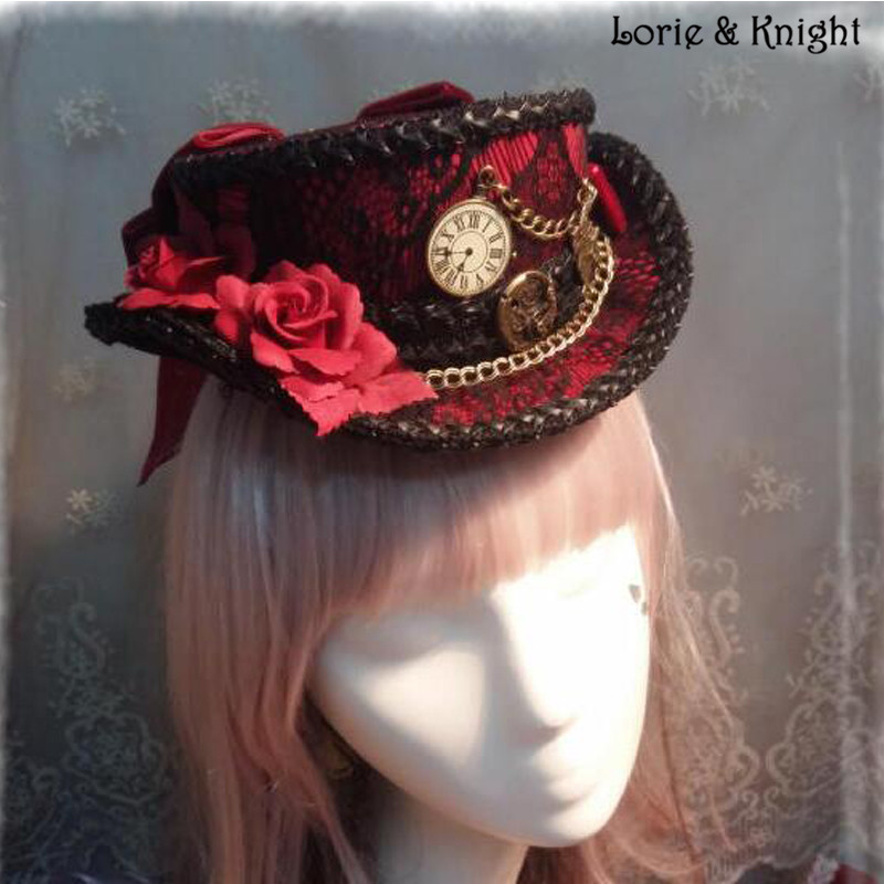 17be7031d87 DIY Alice in Wonderland Inspired Rabbit Clock Gothic Steampunk Lolita  Cosplay Mini Top Hat Black   Red-in Costume Accessories from Novelty    Special Use on ...