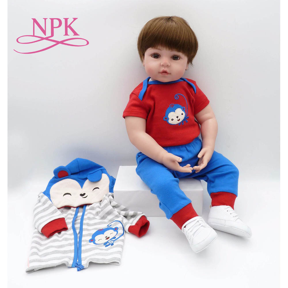 big size 60CM soft silicone reborn toddler baby boy best children Early education gift and playmates