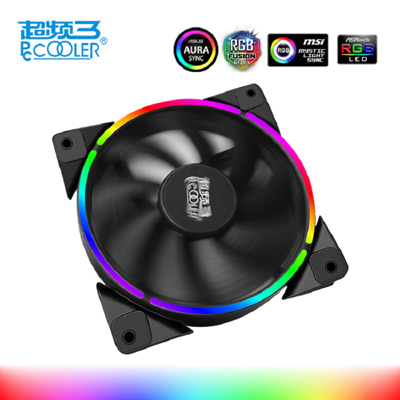 PcCooler 12cm case fan Halo LED AURA RGB 4pin PWM Quiet Suit for CPU cooler Liquid cooler 120mm computer cooling fan 1 PCS 4pin pwm cooler fan 80mm 8cm fan case fan for power supply for computer case computer fan cooler foxconn 8025pwm
