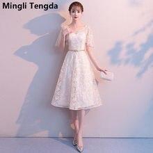 d384d4d316dd03 Mingli Tengda Nieuwe Champagne Grijs V-hals Tea-Lengte Bruidsmeisjekleding Elegante  Jurk Vrouwen voor Wedding Party vestido de m.