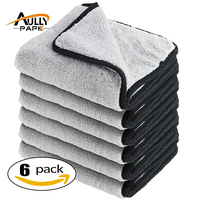 6Pcs Car Wash Plush Microfiber Car Cleaning Cloths Car Care Microfibre Wax Polishing Detailing Towels Gray