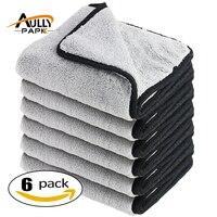40 cm x 40 cm Siêu Dày Plush Microfiber 800GSM Xe Cleaning Cloths Chăm Sóc Xe Microfibre Sáp Đánh Bóng Chi Tiết Khăn màu xám/đen