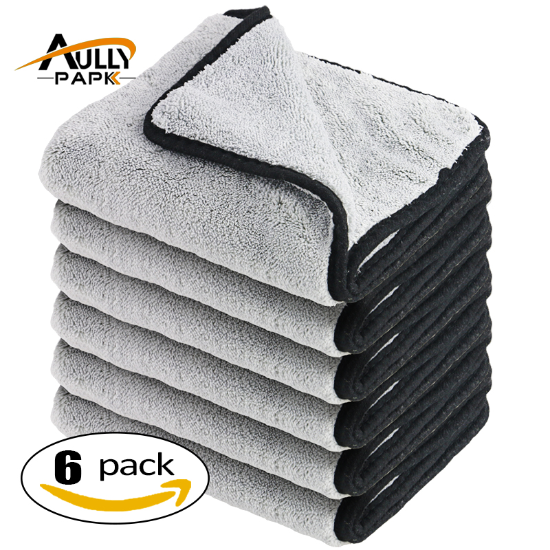 40cmx40cm Super Thick Plush Microfiber 800GSM Car Cleaning Cloths Car Care Microfibre Wax Polishing Detailing Towels Gray/black