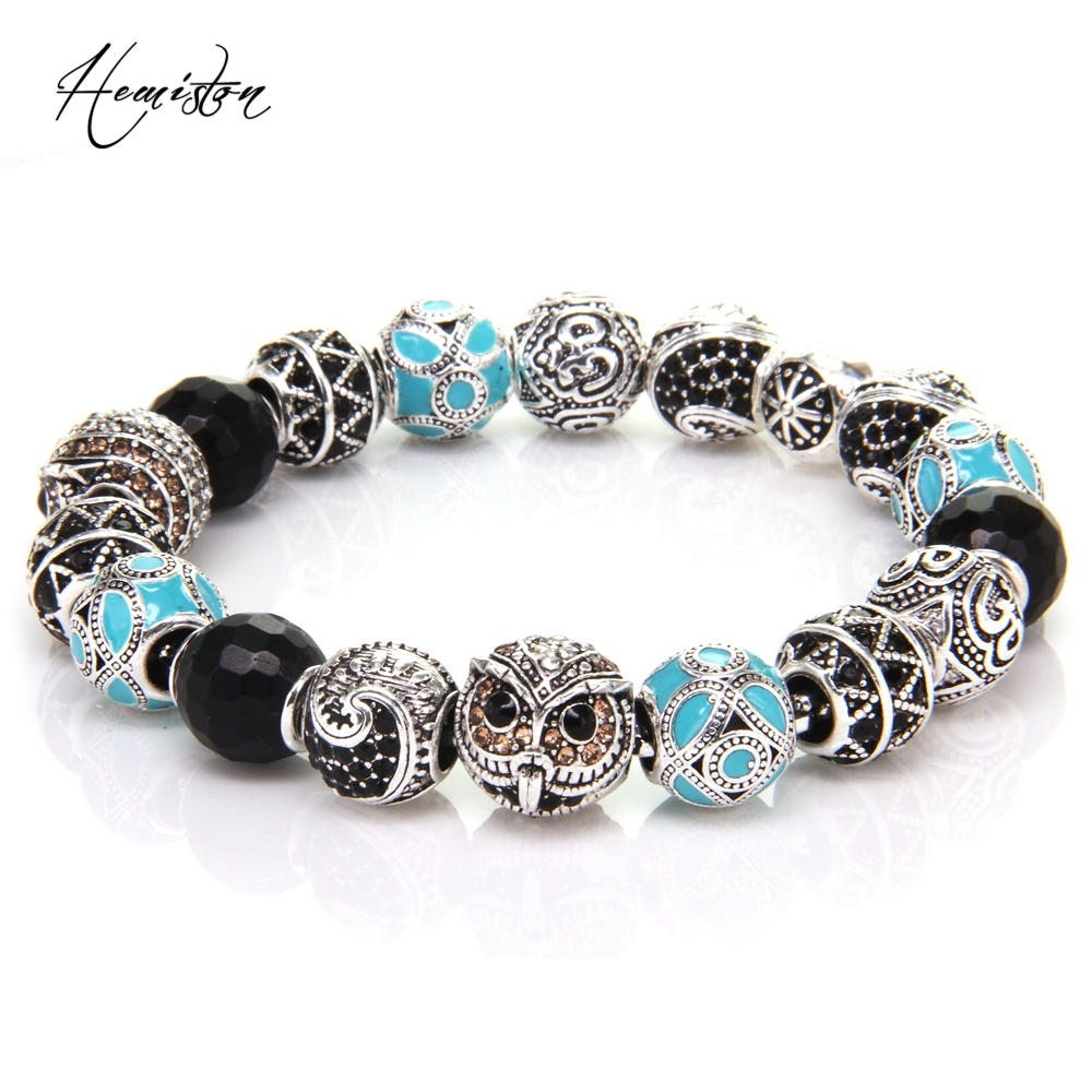 Thomas Style KM Bead Bracelet With OWL, MAORI, ETHNIC, ZIGZAG, OM Beads, Rebel Heart Bracelet for Men TS KB537
