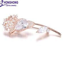 Honghong кубический цирконий растения броши булавки для женщин Высокое качество цветок брошь свадебное платье ювелирные изделия Аксессуары