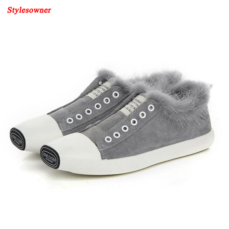 купить  Stylesowner 2017 New Fashion Women Casual Flat Shoes Real Fur Loafers Slip on Flats Square Toe Suede Leather Shoes Ladies  онлайн
