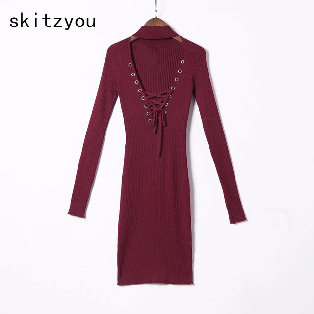 skitzyou Autumn Knitted Women Sweater Bodycon Dress Sexy V Neck Long Sleeve  Sheath Lace Up Black Club Party Dresses vestidos New b7e48b285fdb