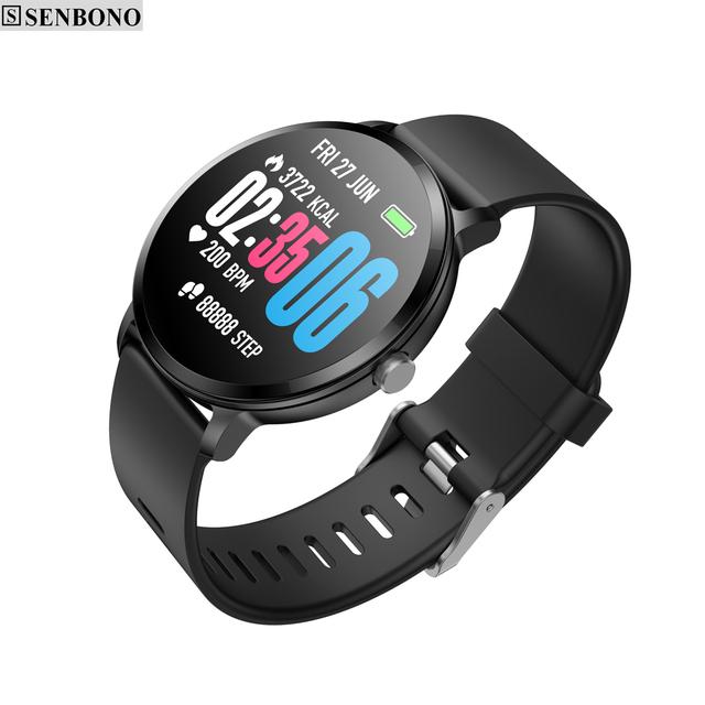 SENBONO V11 Smart watch IP67 waterproof Clock Tempered glass Activity Fitness tracker Heart rate for Men Women smartwatch
